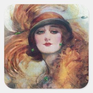 Arte del gorra del fracaso del retrato 20s de la pegatina cuadrada
