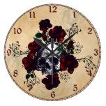 Arte del gótico del estilo del tatuaje del cráneo  reloj