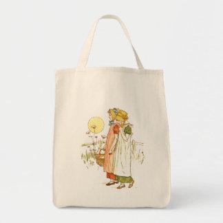 Arte del guión del vintage bolsa lienzo