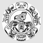 Arte del Haida - diseño de Haidia del americano de Pegatina Redonda
