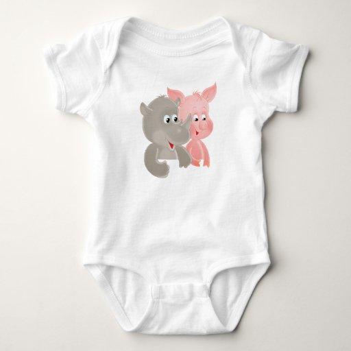 Arte del hipopótamo y del cerdo del bebé tee shirt