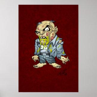 Arte del hombre de negocios del zombi del dibujo poster