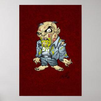 Arte del hombre de negocios del zombi del dibujo posters