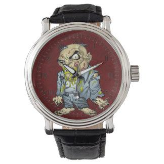 Arte del hombre de negocios del zombi del dibujo reloj de mano