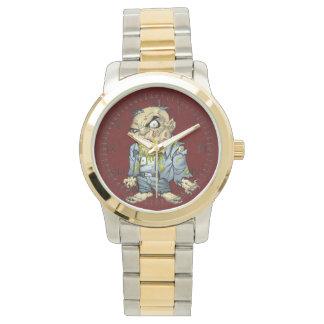 Arte del hombre de negocios del zombi del dibujo relojes