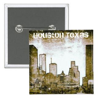 Arte del horizonte de Houston Tejas (botón) Pins