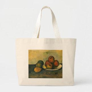 Arte del impresionismo, aún manzanas de la vida w bolsa tela grande