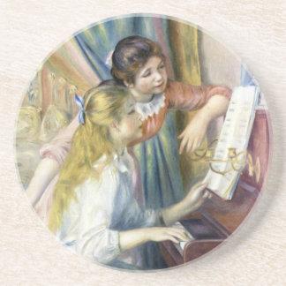 Arte del impresionismo, chicas jóvenes en el piano posavasos cerveza