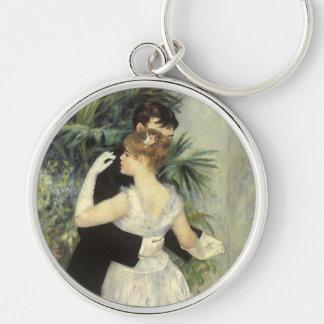 Arte del impresionismo del vintage, danza de la llavero redondo plateado