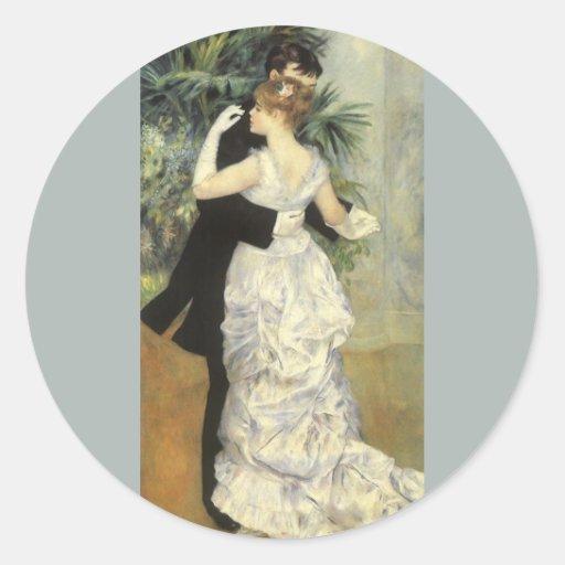Arte del impresionismo del vintage, danza de la pegatina redonda