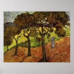 Arte del impresionismo del vintage de los árboles poster