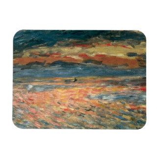 Arte del impresionismo del vintage, puesta del sol imán rectangular