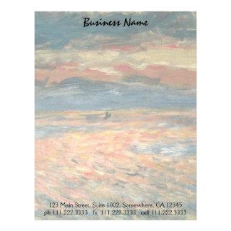 Arte del impresionismo del vintage, puesta del sol membretes personalizados