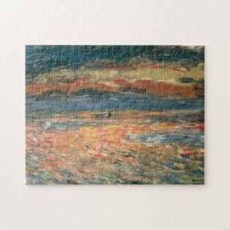Arte del impresionismo del vintage, puesta del sol puzzle con fotos