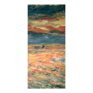 Arte del impresionismo del vintage, puesta del sol diseños de tarjetas publicitarias