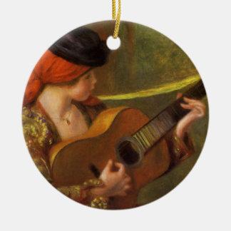 Arte del impresionismo, mujer española joven por adorno navideño redondo de cerámica