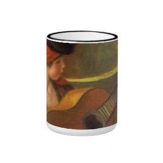 Arte del impresionismo, mujer española joven por taza de dos colores