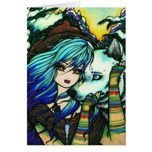 Arte del invierno de la fantasía del lobo del tarjeta de felicitación