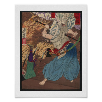 Arte del japonés del samurai c.1800s del Oda que l Póster