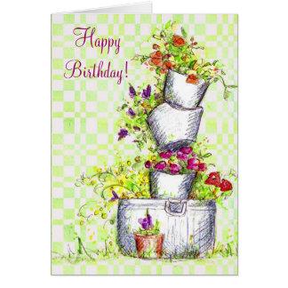 Arte del jardín de la cabaña del cubo de la flor tarjeta de felicitación