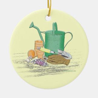 Arte del jardín de los utensilios de jardinería adorno navideño redondo de cerámica