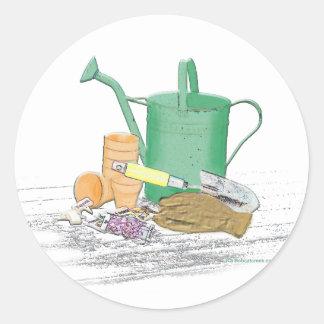 Arte del jardín de los utensilios de jardinería etiquetas redondas