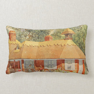 Arte del jardín del vintage - casa hermosa cojin