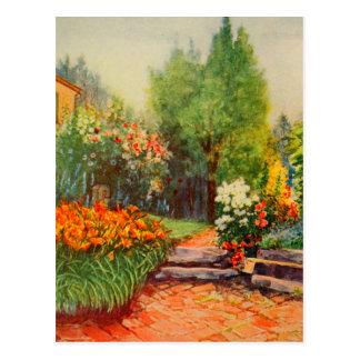 Arte del jardín del vintage - Steele, delegado de Tarjeta Postal