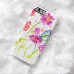 Arte del jardín del Wildflower del rosa de la caja Funda De iPhone 6 Barely There