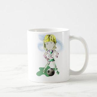Arte del jugador de fútbol del chica taza clásica
