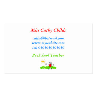 Arte del Kiddie, Srta. Cathy Childs, Tarjetas De Visita
