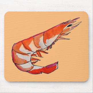 Arte del kitsch de los mariscos del camarón de la mousepad
