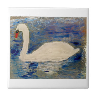 Arte del lago swan azulejo cuadrado pequeño