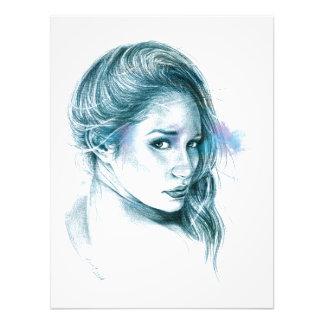 Arte del lápiz del retrato del chica en la cojinete