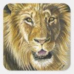 Arte del león calcomania cuadradas personalizada