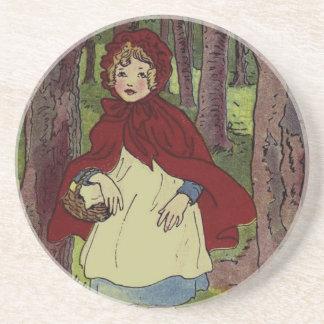 Arte del libro del Caperucita Rojo del vintage Posavaso Para Bebida