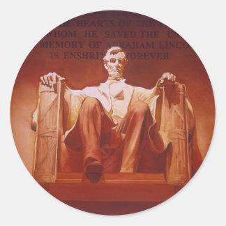 """Arte del Lincoln memorial de la """"impresión Pegatina Redonda"""