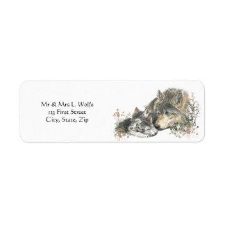 Arte del lobo de la acuarela y del animal de Cub Etiquetas De Remite