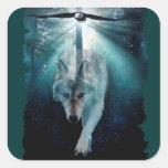 Arte del lobo y de la fauna de los clanes de Eagle Calcomania Cuadrada Personalizada