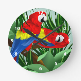 Arte del Macaw del escarlata Relojes De Pared