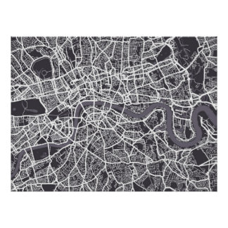 Arte del mapa de calle de Londres Inglaterra Póster