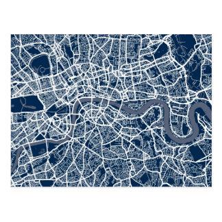 Arte del mapa de calle de Londres Inglaterra Tarjeta Postal