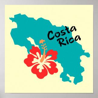 Arte del mapa de Costa Rica con la flor del hibisc Póster