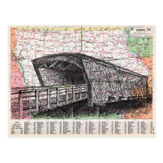 Arte del mapa de Iowa Tarjeta Postal