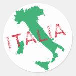 Arte del mapa de Italia con Italia Pegatina Redonda