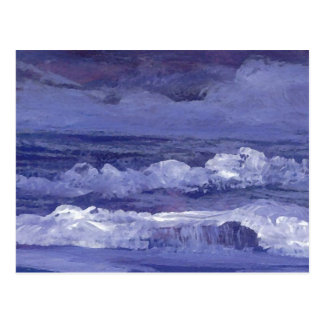 Arte del mar nublado de la noche - océano de tarjetas postales