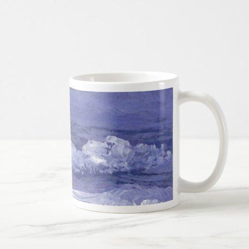 Arte del mar nublado de la noche - océano de taza clásica