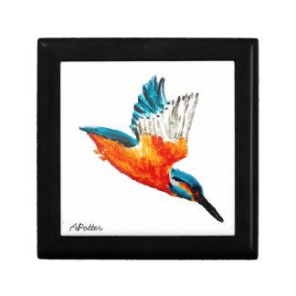Arte del martín pescador del vuelo joyero cuadrado pequeño