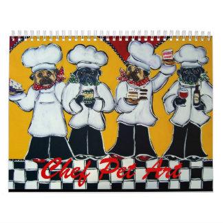 Arte del mascota del cocinero calendario