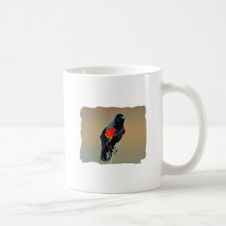 Arte del mirlo de alas rojas taza